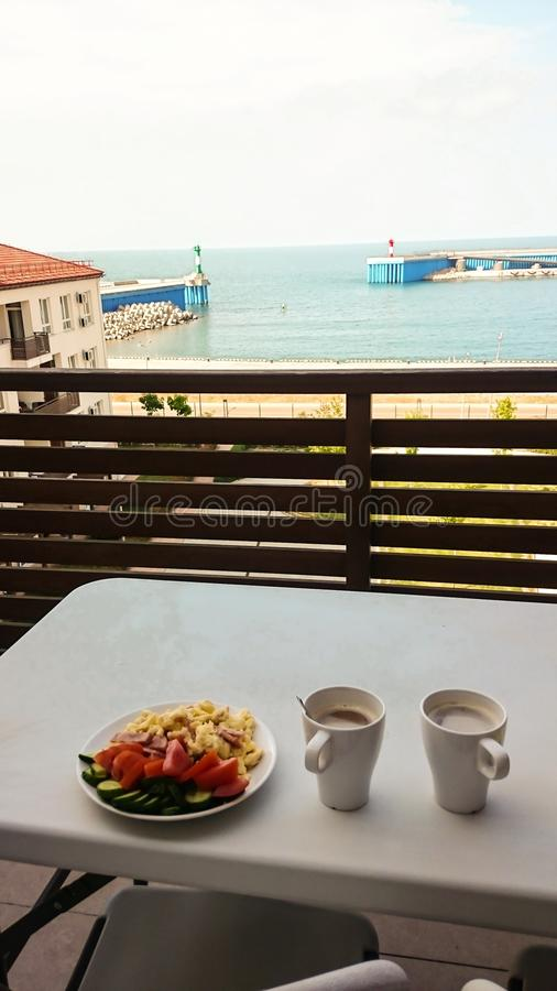 In-room breakfast by the sea stock photo