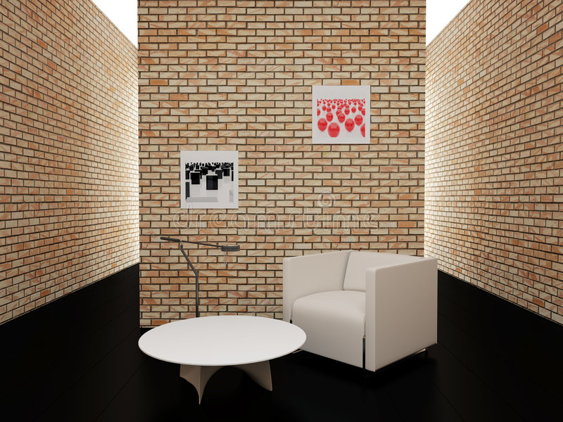 Room With Brick Walls Royalty Free Stock Photos