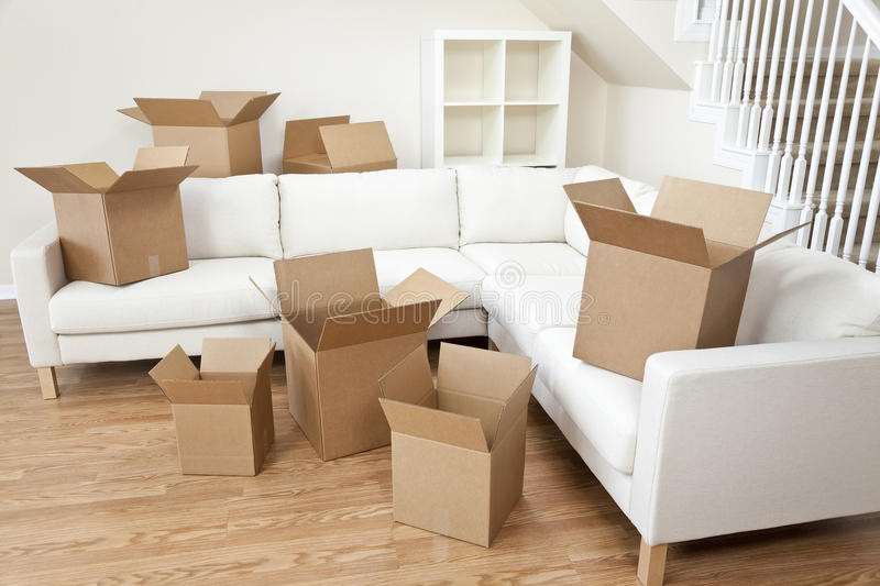Room Of Cardboard Boxes for Moving House stock photo