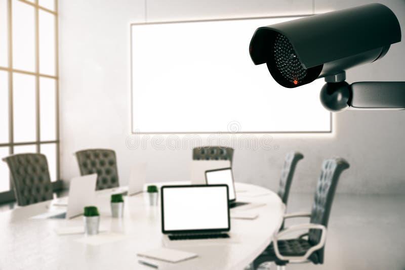 Room with CCTV camera stock illustration. Illustration of control ...