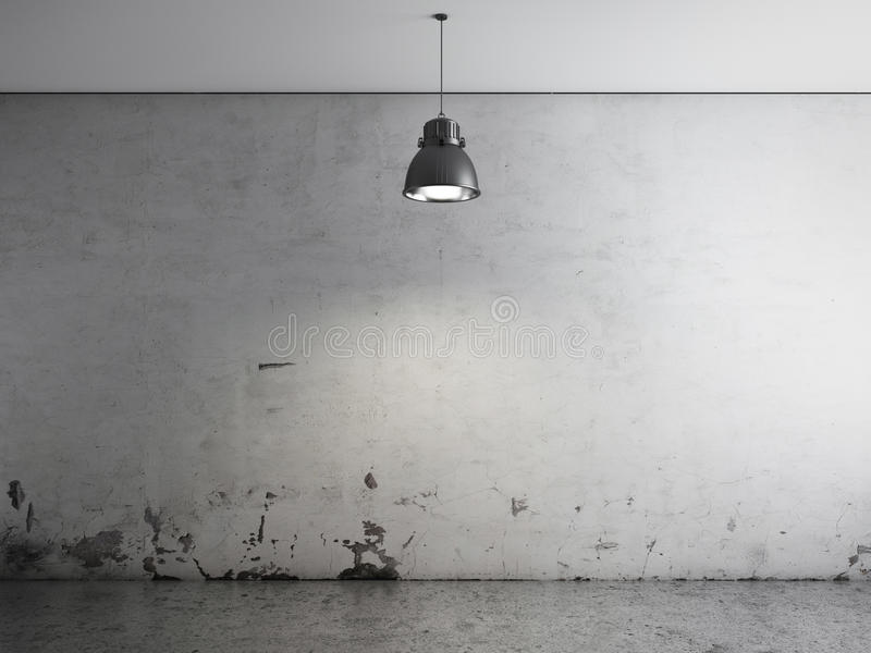 Download Room With Ceiling Lamp And Concrete Floor Stock Illustration - Image: 27896940