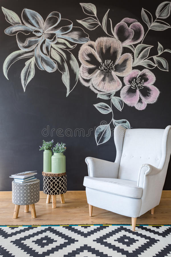 Room with chair and chalkboard royalty free stock photography