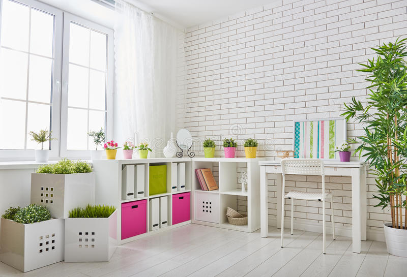Room for child. Interior of colorful unisex room for child stock photo