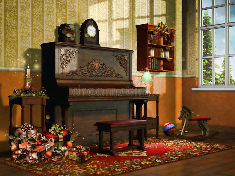 Room with Christmas presents royalty free stock photography