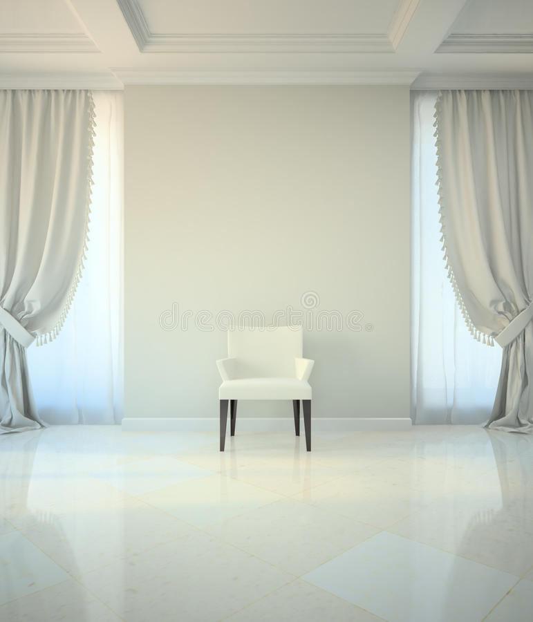 Room in classic style with chair stock illustration