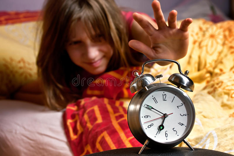 Download Room Clock Bed Lazy Sleep Wake Stock Image - Image: 21976101