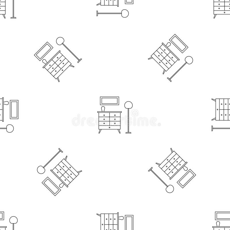 Room clothes drawer pattern seamless vector. Repeat geometric for any web design royalty free illustration