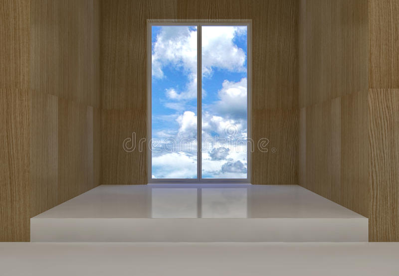 Room with clouds view. Room with wooden walls and white floor and clouds view on window stock illustration