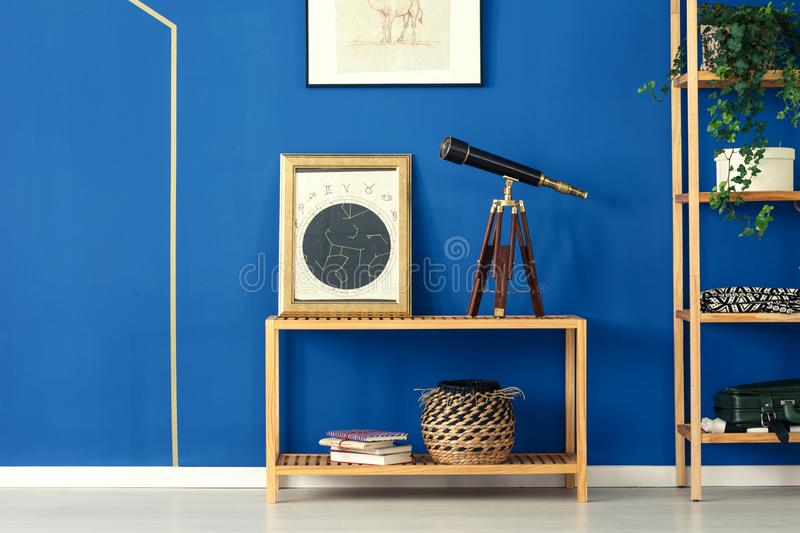 Room with cobalt blue wall stock images