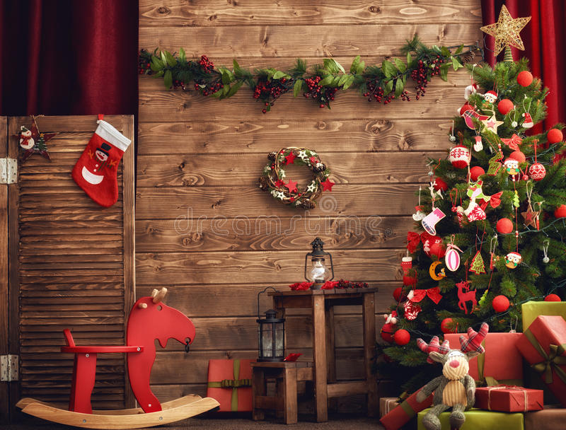 Room decorated for Christmas stock images