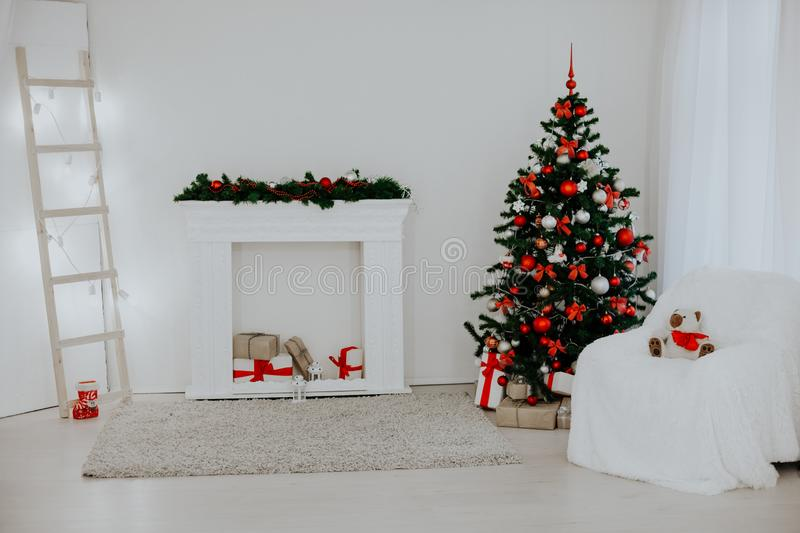 Room decorated for the Christmas holidays new year tree gifts royalty free stock images