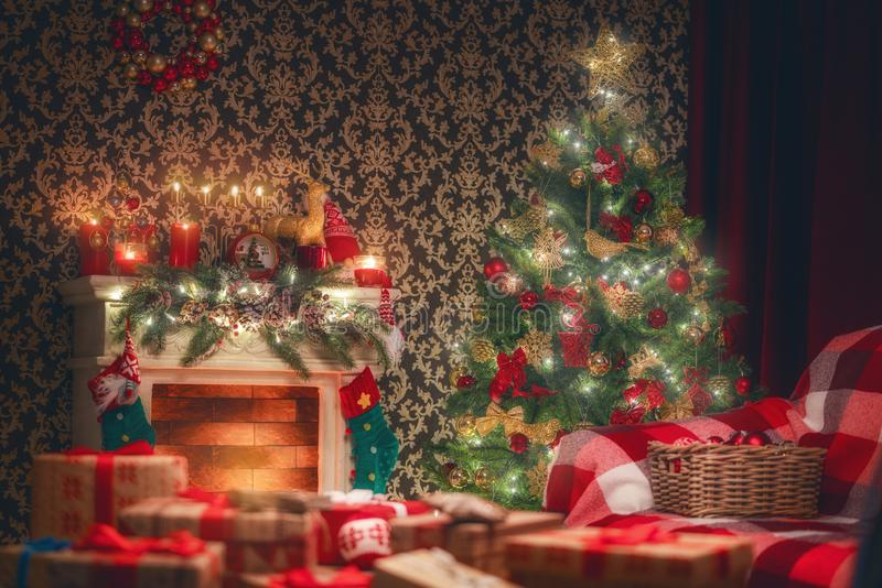 Room decorated for Christmas royalty free stock photo