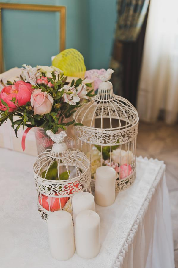 Download Round Bird Cages As Decorative Elements Of The Room 9271. Stock  Photo   Image