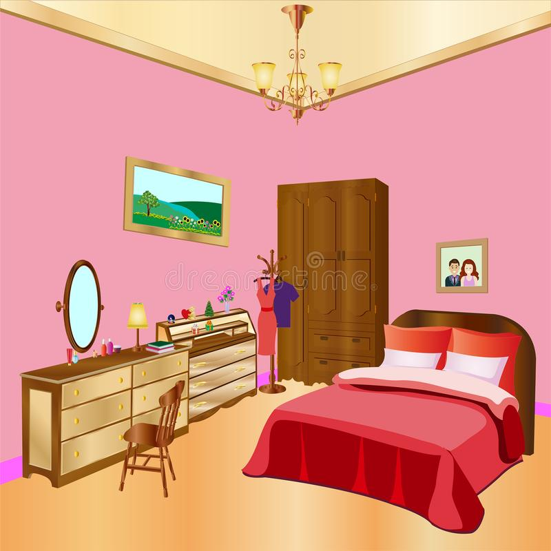 Cozy bedroom interior design.couple bedroom.Elegant bedroom. stock illustration