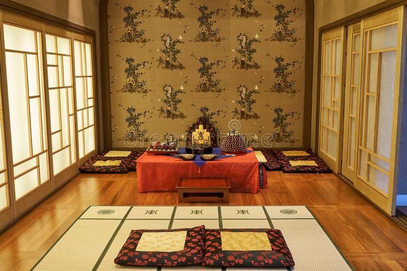 Room designed with Korea`s traditional decorations and foods for ceremony of newly wed couples and their families. Room designed with Korea`s traditional stock photos