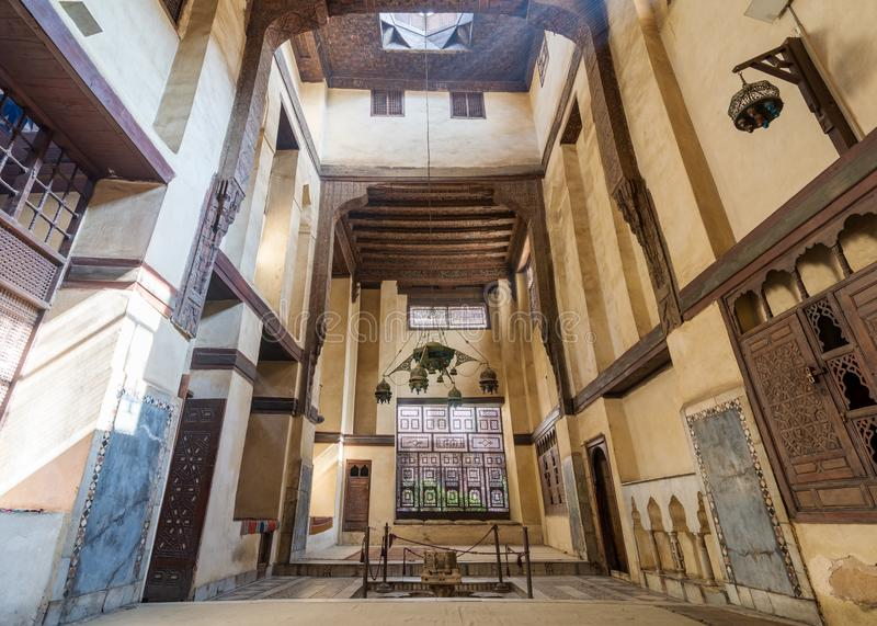 Room at El Sehemy house, an old Ottoman era historic house in Islamic Cairo, built in 1648, Cairo, Egypt royalty free stock photo