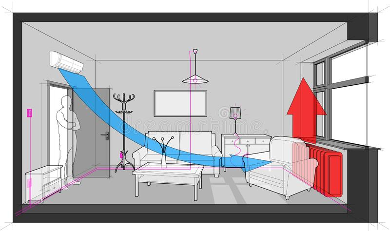 Room with electric installations and wall mounted air conditioner and radiator heating and furniture. Diagram of a single room furnished with sofa and chair and royalty free illustration