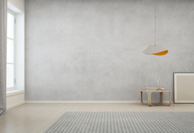 Room With Empty Concrete Wall Background In Modern House