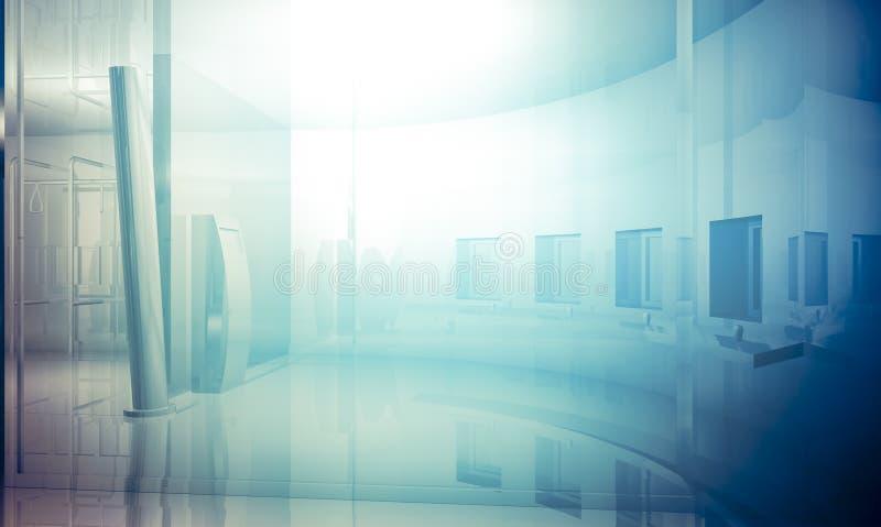 Room.Empty-kontor med kolonner och stora fönster, inomhus buildin royaltyfri illustrationer