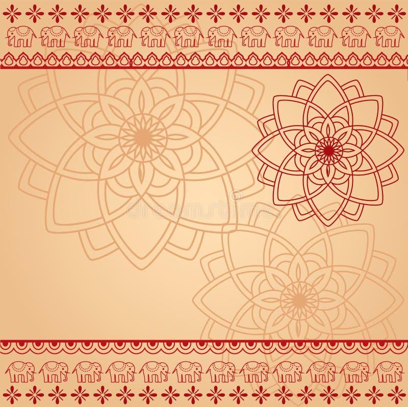 Room en rode hennamandala en olifantsachtergrond royalty-vrije illustratie