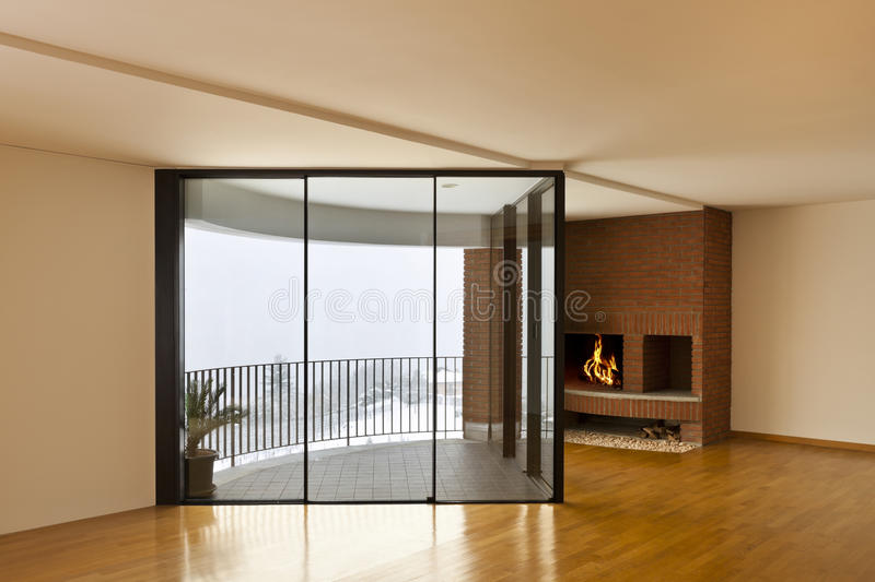 Room with fireplace and window royalty free stock images