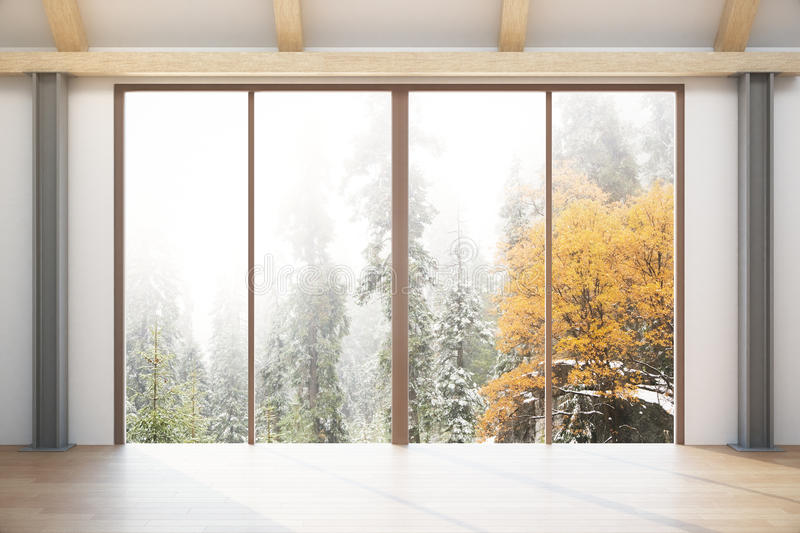 Room with forest view. Contemporary interior with wooden floor, concrete walls, ceiling and panoramic forest view. 3D Rendering royalty free illustration