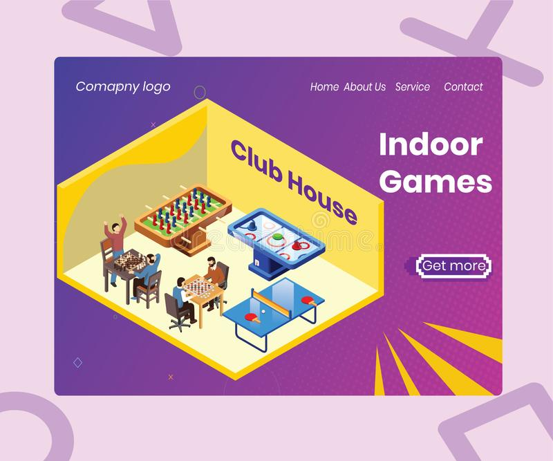A room Full of Indoor games isometric artwork Concept vector illustration