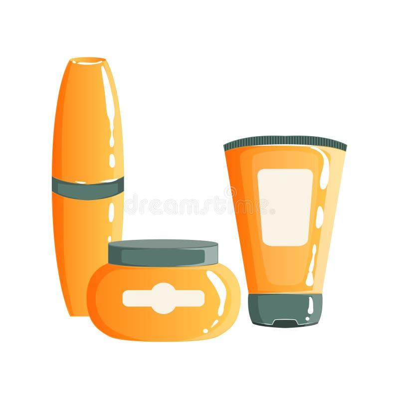 Room, Gel en Maskara in Oranje Plastic Containers, Schoonheid en Skincare-Vastgesteld het Malplaatjeontwerp van de Productlijn stock illustratie