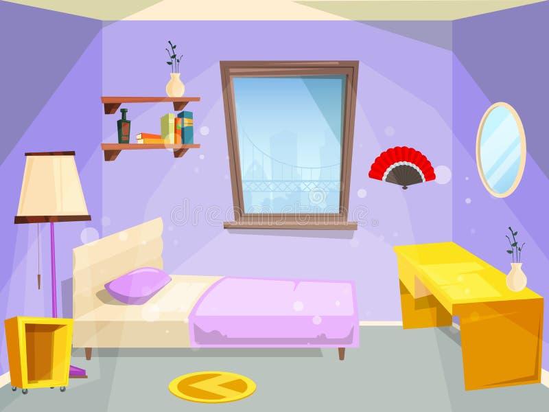 Room for girl. House bedroom for girl kid children cartoon vector appartment. Illustration of apartment for teenager girl, kid room stock illustration