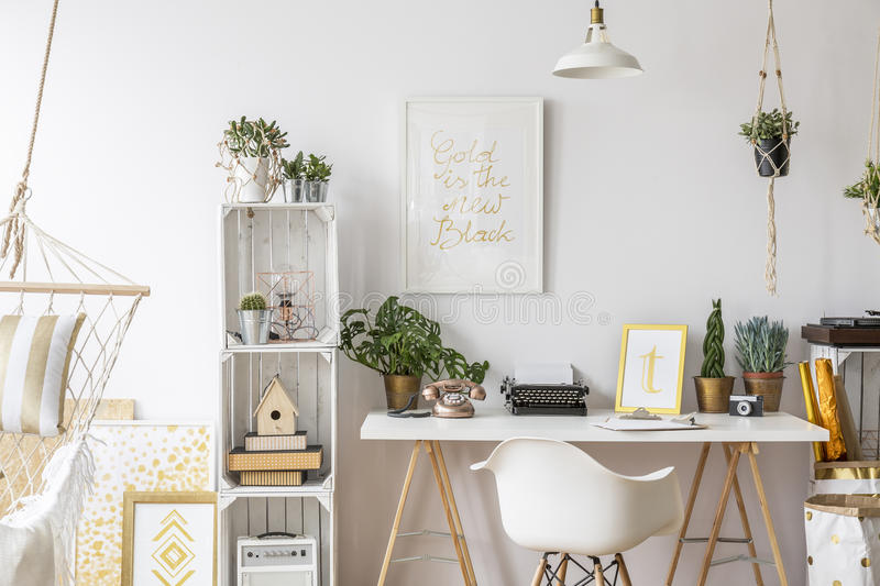 Room with gold design royalty free stock photography