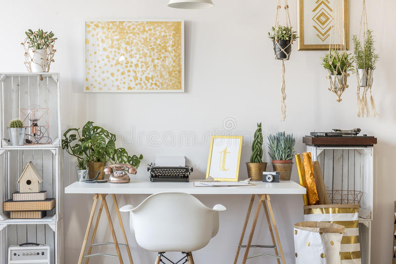 Room with gold design stock photo