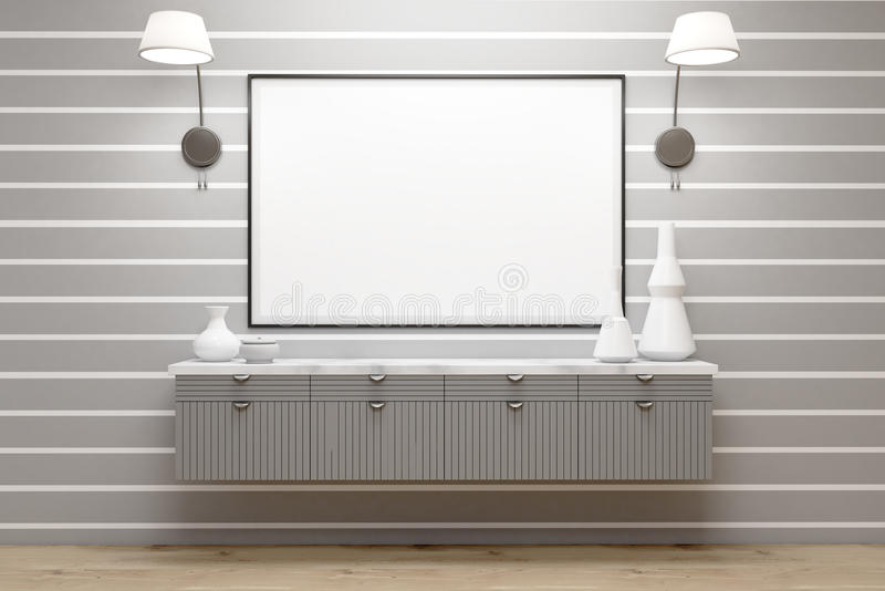 Room with gray drawers, lamps, poster, gray wall vector illustration