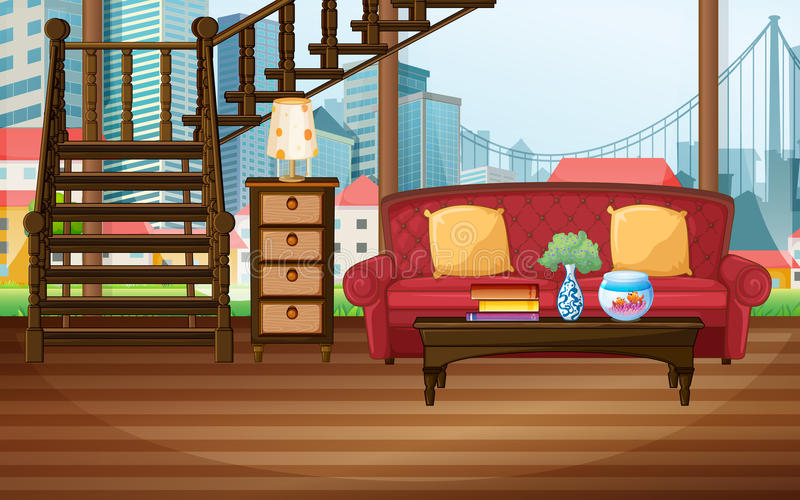 Room. Illustration of a living room with city view stock illustration