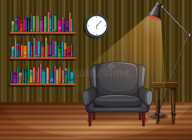 Room. Illustration of a study room with books stock illustration