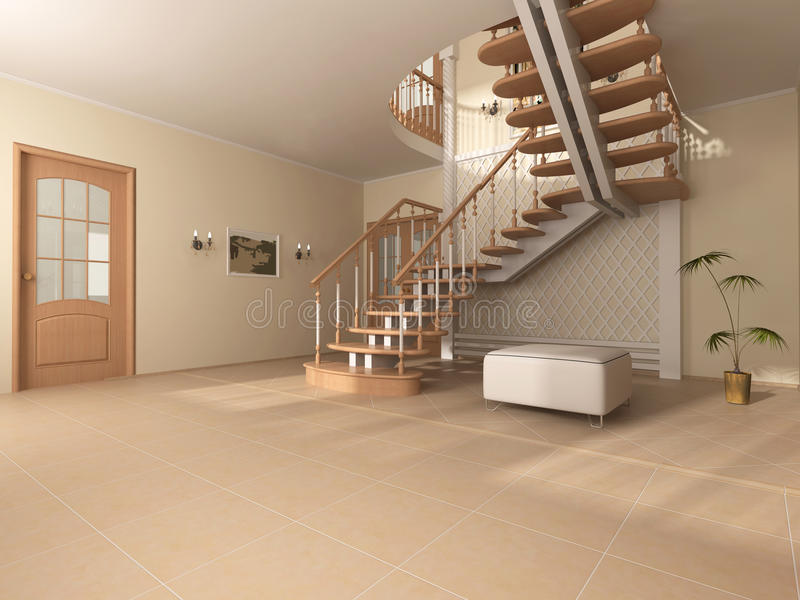 Room interior. Interior of the room with stairway from tree stock illustration