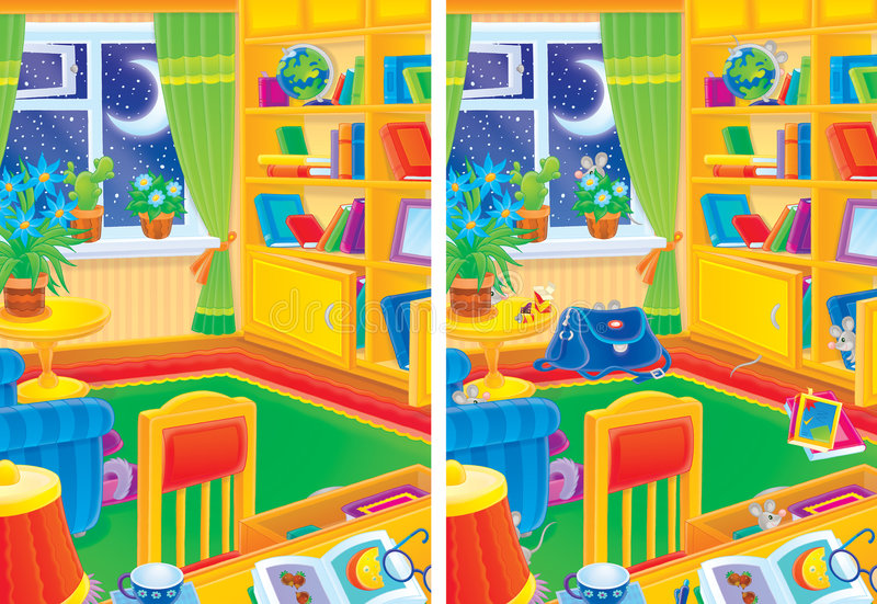 Room interior and 9 mice hiding in the room stock illustration