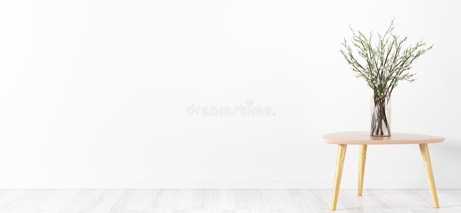 Flower vase over white wall interior background 3d rendering. Room interior background, glass vase with flower branches on the table over white wall, panorama vector illustration