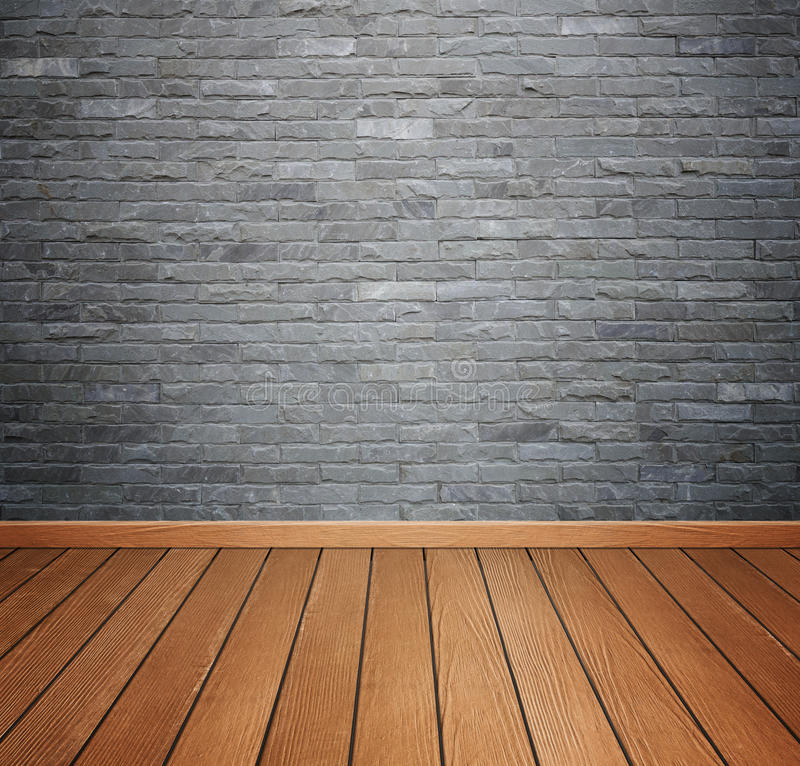 room interior with brick stone tiles wall and wood floor background stock image