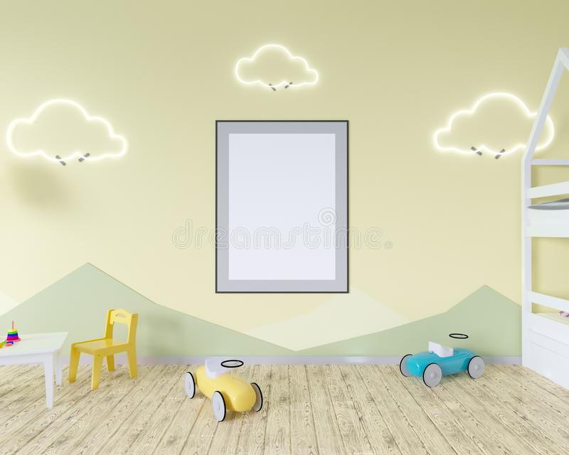 Room interior with a crib, cloud shaped lamps and a toy. Blue walls. Concept of minimalism. 3d rendering. Mock up. illustration vector illustration