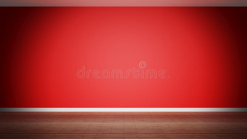 Room interior, empty red wall vector illustration
