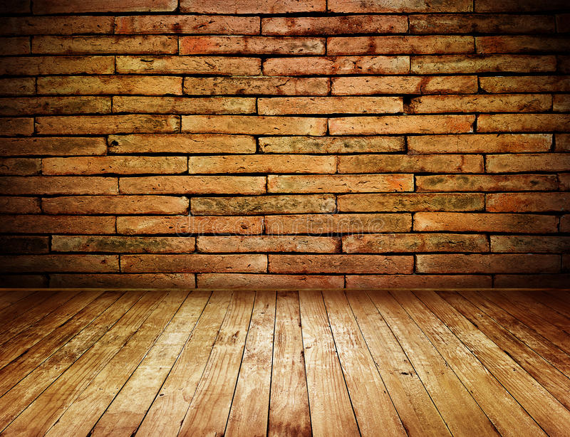 Room interior grunge vintage with red brick wall and wood floor stock photography