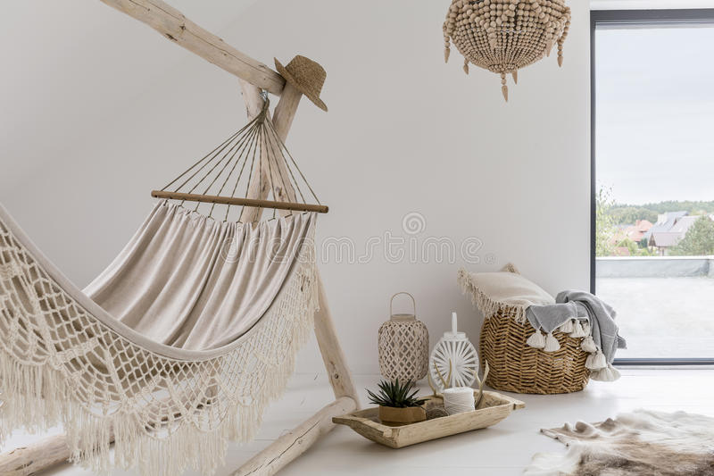 Room interior with hammock stock photo