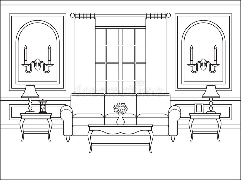 Download Living Room Interior In Flat Design. Outline Vector Illustration  Stock Vector   Illustration Of