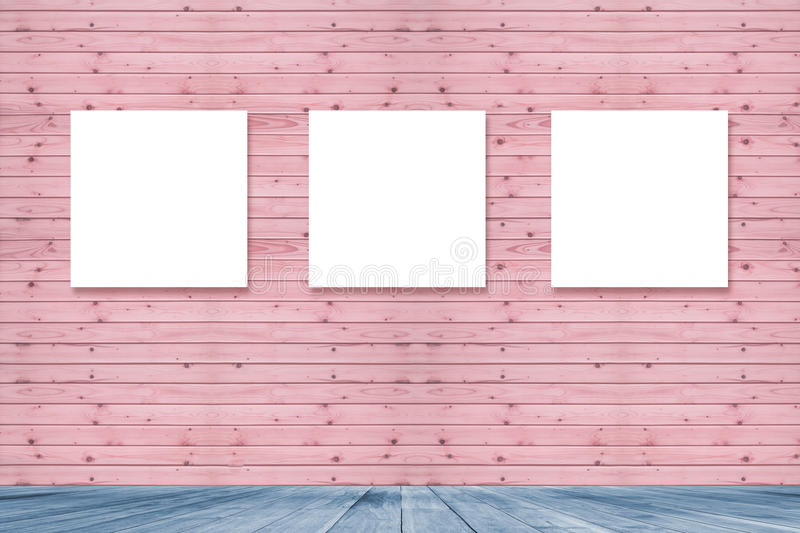 Room Interior Vintage With Three Canvas Frame On Pink Pastel Wooden ...