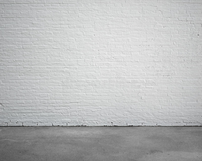 Room interior with white brick wall and concrete floor royalty free illustration