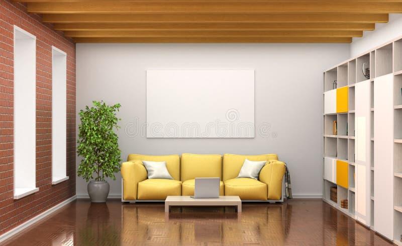 Room interior with yellow sofa, large windows, stock illustration