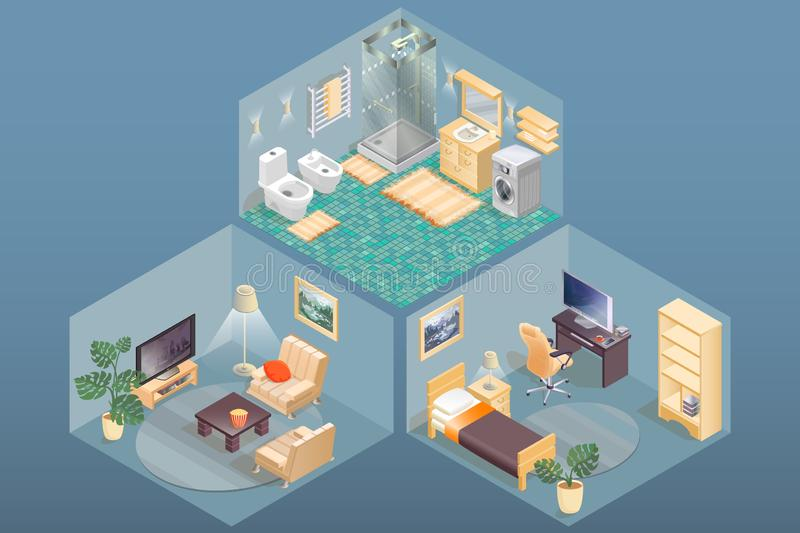 Room items and furniture isometric icons. Vector interior design. Room items and furniture isometric icons. Workspace, bathroom and living room. Detailed vector illustration