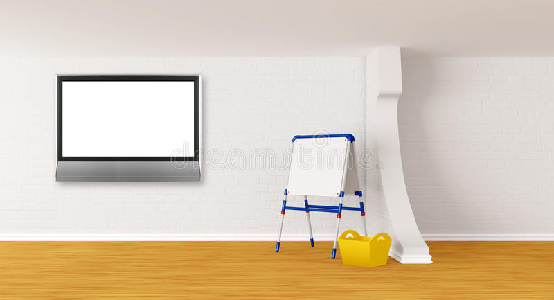 Download Room With Kid's Board And Lcd Tv Stock Illustration - Illustration: 20592256