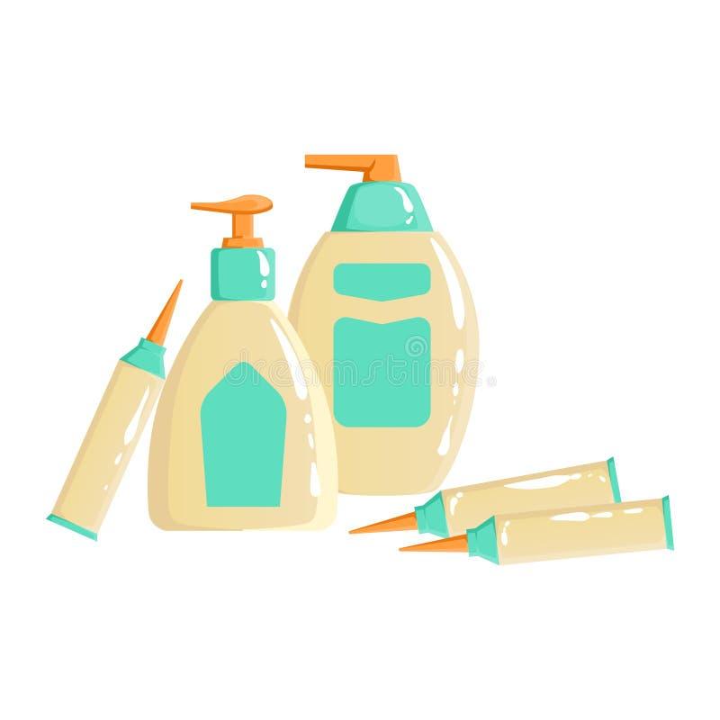Room, Lotion en van Sopa Dispencer Containers, Schoonheid en Skincare-Vastgesteld het Malplaatjeontwerp van de Productlijn royalty-vrije illustratie