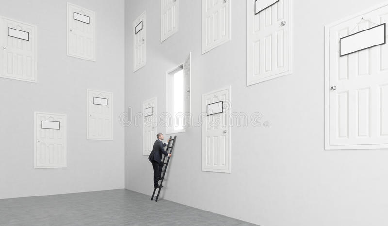 Room with many doors stock photography
